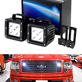 iJDMTOY Behind Grille LED Pod Light Kit For 2009-14 Ford F150, Includes (2) 20W High Power CREE LED Cubes, Behind Hood/Grill Mounting Brackets & On/Off Switch Wiring Kit