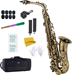 EastRock Students Beginners Alto Saxophone Antique Finished E Flat with Hard Case,Mouthpiece,Mouthpiece Cushion Pads,Cleaning Cloth&Cleaning Rod,White Gloves,Alcohol Pads,Strap