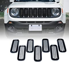 Xprite Black 7pcs ABS Front Grill Grille Inserts with Mesh for 2015-2017 Jeep Renegade