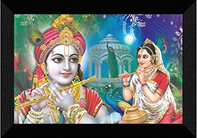 SAF Radhe Krishna Flute playing UV Textured Synthetic Frame Painting SAFK94