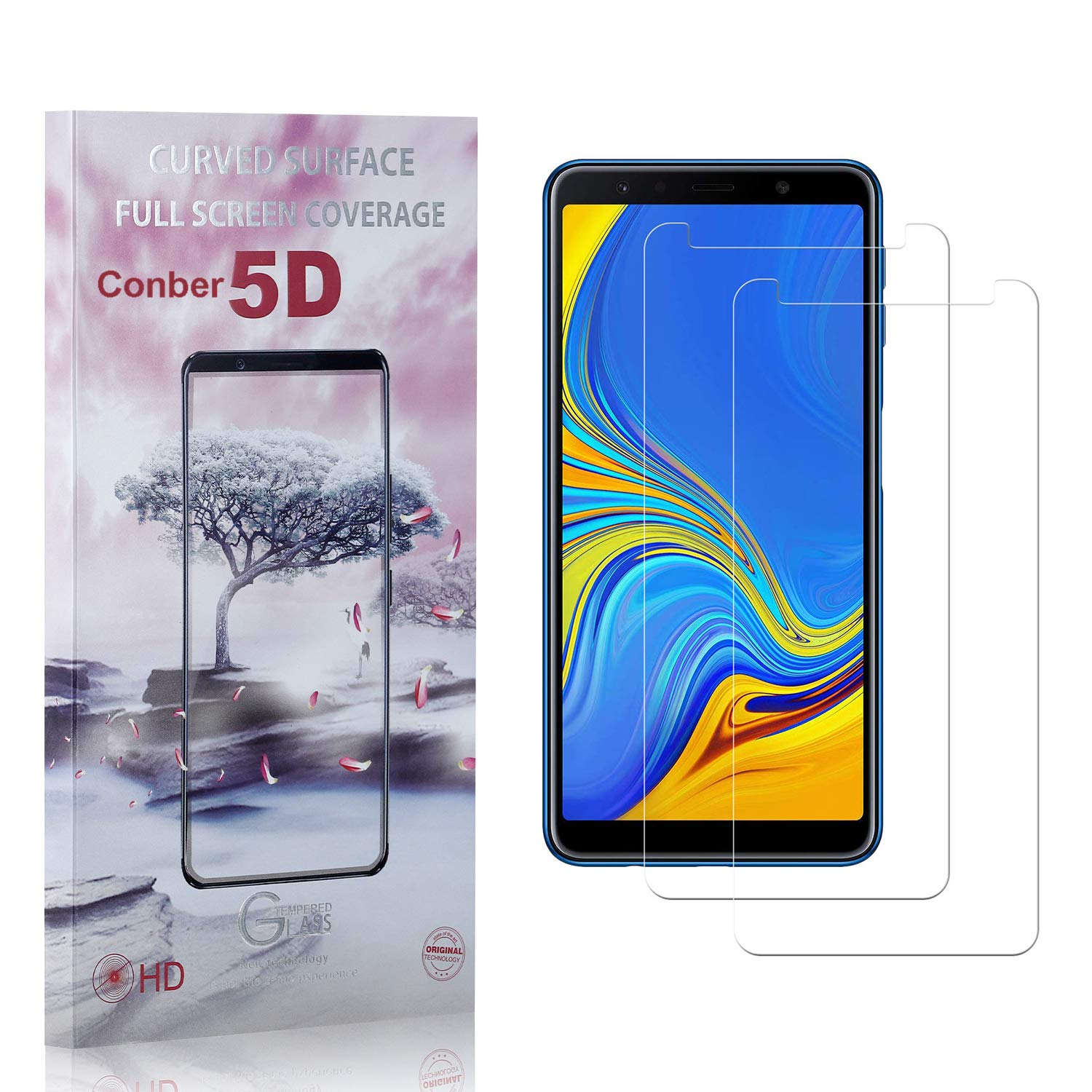 Conber 2 Pack Screen Protector Limited Special Price for An Samsung Galaxy A7 2018 Very popular