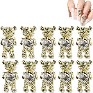 Tixiyu Nail Art Decoratie, 10 stuks schattige beer nail art decoraties set, 3D metalen nagelsieraden bedels, Crystal Nail ...