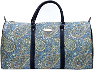 Paisley in Paradise Blue Big Holdall by Signare/Ladies Hand Luggage Trip Suitcase Travel/BHOLD-PAIS