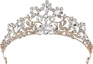 SWEETV Rhinestone Wedding Tiara - Rose Gold Bridal Crown Jeweled Headpieces for Women and Girls