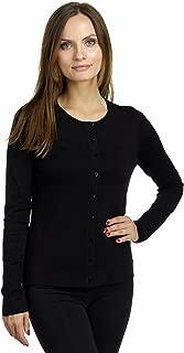 Women's Long Sleeve Crew Neck Silk Blend Twin Sweater Cardigan