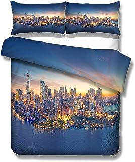Sticker Superb Ropa de Cama Moderno Ciudad Patrón 3D Hermosa New York London Philadelphia Chicago Los Angeles Funda nórdica Microfibra Funda de Almohada Soltero Cama de 90 cm (New York, 180_x_210_cm)