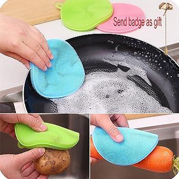 2 Estropajos de silicona para ollas y sartenes (color al azar): Amazon.es: Hogar