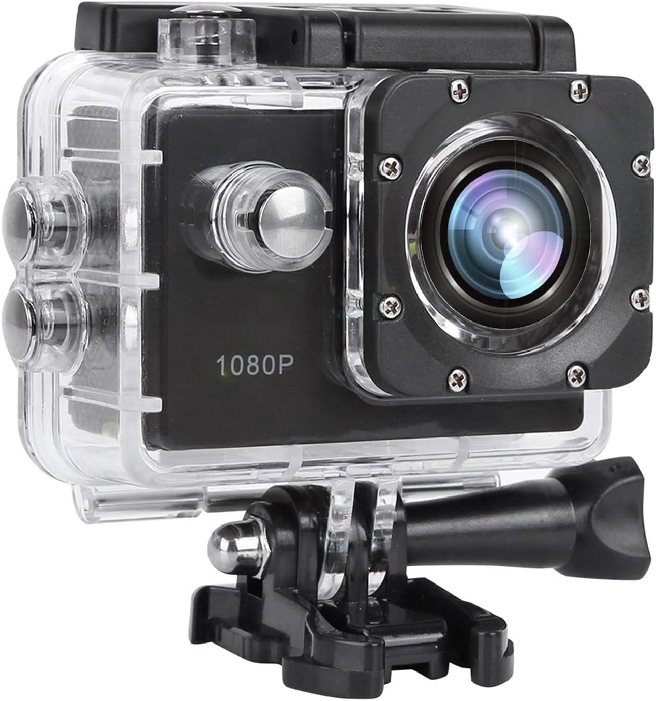 Cámara Deportiva 1080P, videocámara de acción Gran Angular de 30 m Impermeable a 140 ° con Pantalla TFT LCD de 2 Pulgadas, función de Toma única y Captura de instantáneas(Negro)