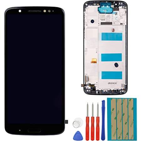 LCD Replacement Compatible with Motorola Moto G6 Plus XT1926 Touch Screen LCD Assembly Front Pannel with Frame + Adhesive + Tools (Black)
