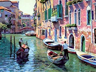 Paint by Numbers Kits, Amiiba Italy Venice, City Scenes, River Boat DIY Kits 16x20 inch Acrylic Painting by Number Wall Ar...