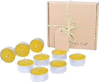 BeeIT Bienenwachs Teelicht, 9 x Teelichter, Kerzen Bienenwachs, 100% Pure Organic, handgefertigt, 100% natürlich, Aromatherapie, handgerollt