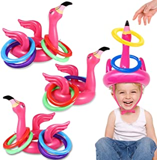 Camlinbo 3 Pack Flamingo Ring Toss Pool Game Toys, Inflatable Pool Toys Hawaiian Luau Beach Party Supplies Carnival Outdoo...