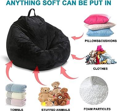 MFTEK Bean Bag Chair Cover(No Filling), Large Washable Soft Velvet Bean Bag, Stuffed Animal Storage or Memory Foam for Kid Ad