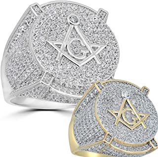 Real Solid 925 Silver Mens Freemason Masonic Ring - Sizes 7-13 - Iced Out Hip Hop Ring