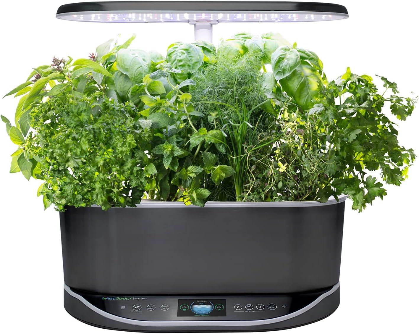 AeroGarden Bounty Elite - Indoor Garden with LED Grow Light, WiFi and Alexa Compatible, Platinum Stainless