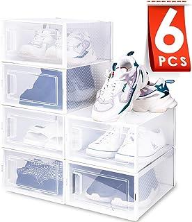 amzdeal Cajas de Zapatos Plásticas 6 Pcs - Organizador de Zapatos Transparente Apilable y Impermeable Caja de Almacenami...