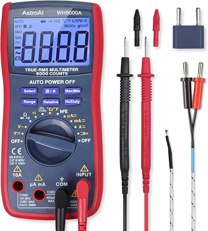 AstroAI Digital Multimeter TRMS 6000 Counts Volt Meter Manual Auto Ranging Measures Voltage Tester Current Resistance Tests Diodes Transistors Temperature