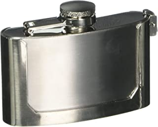 Maxam 3oz Belt Buckle Stainless Steel Flask, Lightweight Drinking Flask with a Screw-On, Leak Proof Lid, Polished Silver B...