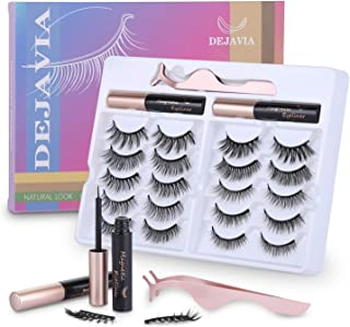 Magnetic Eyelashes with Eyeliner Kit- 10 Pairs Premium 3D Natural Look Reusable Eyelashes with Tweezers Applicator, Strong...