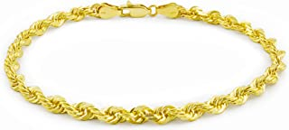 "Men's 14k Yellow Gold Solid 4mm Diamond Cut Rope Chain Bracelet, 8""- 9"""