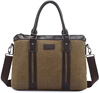 Men's Accessories Office Canvas Retro European Style Briefcase Casual Bag Holder Khaki for Man Outdoor Recreation