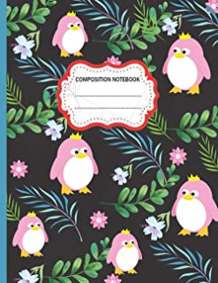 Composition Notebook: Cute Penguin and Leaves College Ruled Composition Notebook for Writing Notes... for Girls, Kids, Sch...
