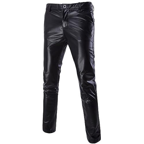0d8e7e2d42a00 MADA Men's Skinny Night Club Metallic Faux Leather Pants