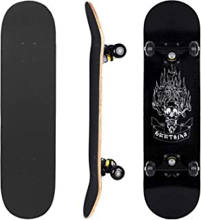 """Skateboards 31"""" x 8"""" Complete Skateboard for Beginners Kids Teens & Adults ABEC 7, 95A"""