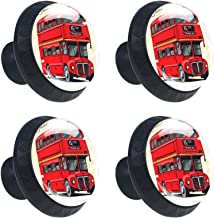 Londen Double-Decker Handgetrokken Rode Bus Ronde Ladeknop Trek Handvat Kast Knoppen 4 stks met Schroeven voor Thuiskantoo...
