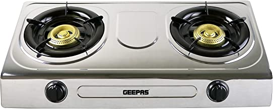 Geepas 2-Burner Gas Stove, Auto Ignition  Stainless Steel Body