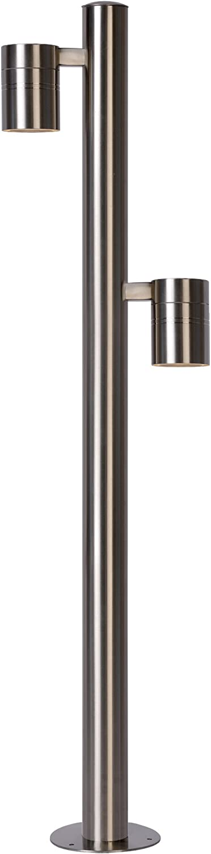 Lucide Arne-LED-Pollerleuchte Auen-Durchmesser 6,3 cm-LED-GU10-2x, 2700 K-IP44, Eisen, GU10, 5 W, Satin Chrome, 21 x 21 x 90 cm