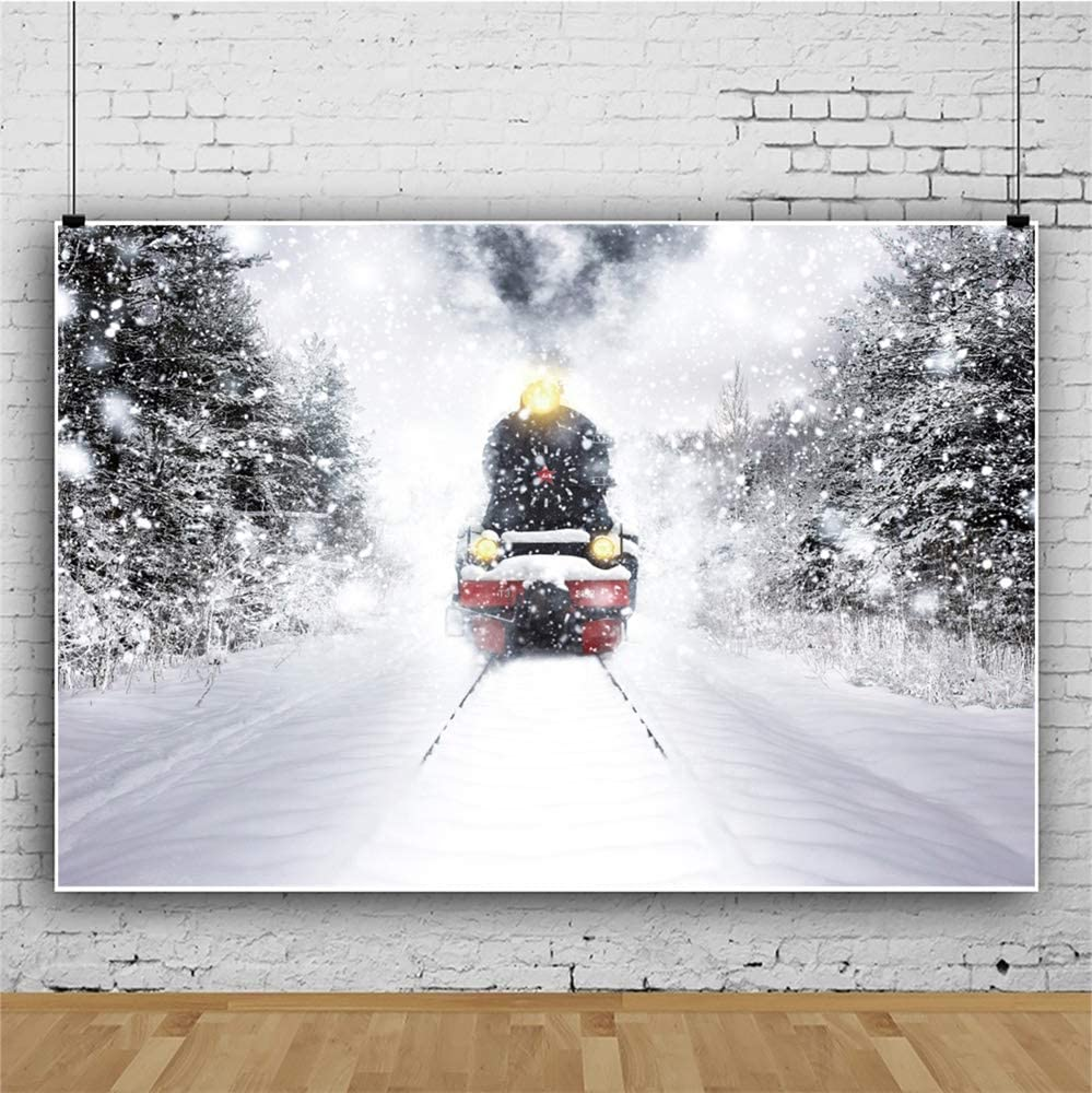 Leowefowa Snowy Forest Rail Running Train Locomotive Backdrop for Photography 12x8ft Vinyl Winter Snowscape Background Child Adult Photo Shoot Wintery Xmas Party Banner Scenic Wallpaper