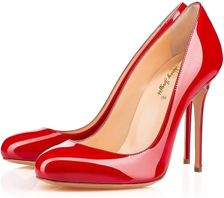 Nancy Jayjii Formal shoes for Women Round Toe Slip-on Stiletto Genuine Leather Red 13