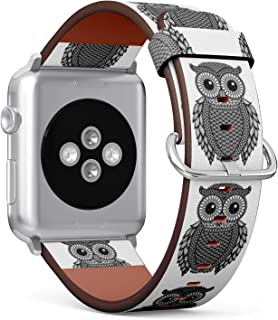 (Zentangle Stylized Black Owl) Patterned Leather Wristband Strap for Apple Watch Series 4/3/2/1 gen,Replacement for iWatch 38mm / 40mm Bands