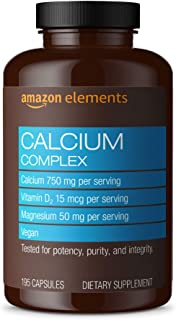 Amazon Elements Calcium Complex with Vitamin D, 250 mg Calcium per Serving (3 Capsules), Vegan, 195 Capsules (Packaging may vary), Supports Strong Bones and Immune Health