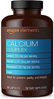 Amazon Elements Calcium Complex with Vitamin D, 250 mg Calcium per Serving (3 Capsules), Vegan, 195 Capsules (Packaging ma...