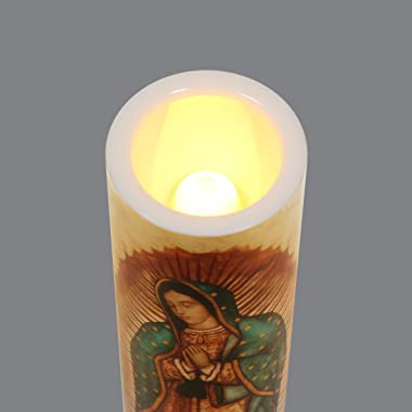 Our Lady of Guadalupe, LED Flameless Devotion Prayer Candle, Religious Gift, 6 Hour Timer for More Hours of Enjoyment and Dev