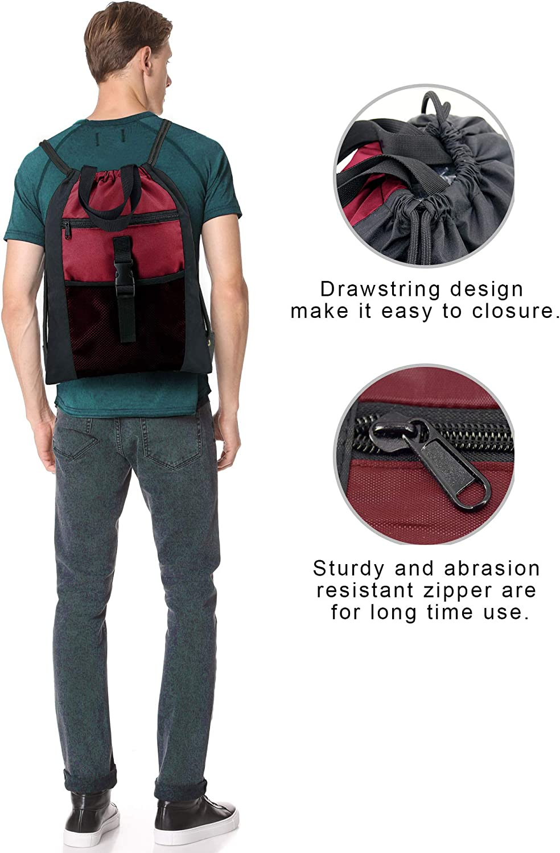 Navy Drawstring Bag Backpack Sports Gym String Sack with Inside Pocket 18L x 13.6W Cinch Bag Machine Washable