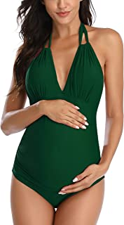 EastElegant Maternity Floral Swimsuit One Piece V-Neck Pregnancy Swimwear Halter Maternity Bikini