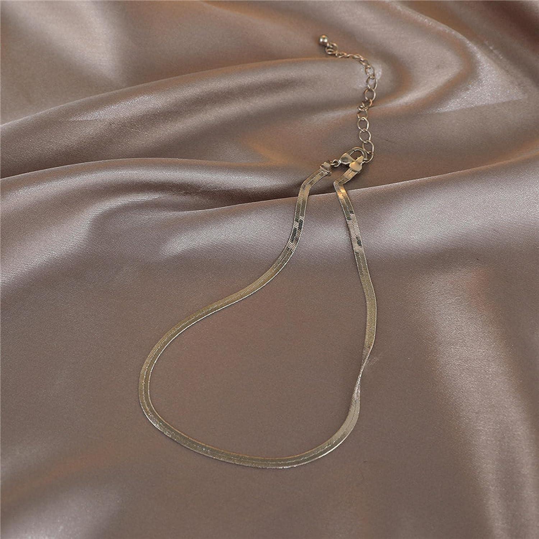 Simple Choker Snake Bone Necklace Cold Collar Chain Pendant Platinum Necklace 1876