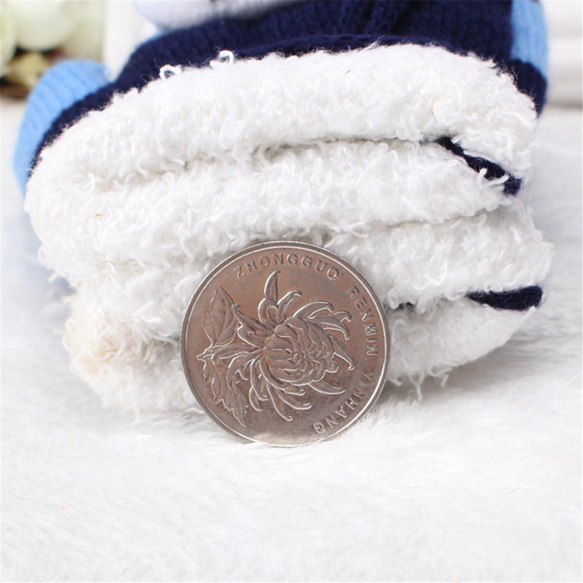 Cozylkx 1 Pair Kids Winter Warm Mittens, Double Layer Knit Football Pattern Full Fingers Gloves For Children