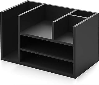 FITUEYES Desk Organiser Wood Black with 5 Storage Office Supplies 41.9x24x25cm DO304202WB