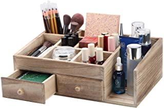$34 » X-cosrack Rustic Wood Desk Cosmetic Office Drawer Storage Organizer Box, Countertop Stationery Coffee Supplies Makeup Organizer Case for Bathroom Vanities Dresser Table-Patent Pending