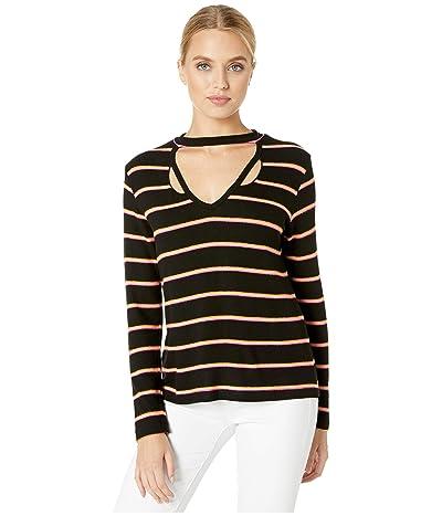 LNA Brushed Helena Sweatshirt (Black/Pink Stripe) Women