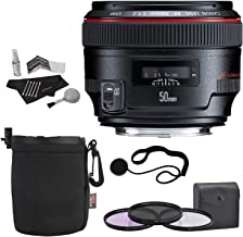 Canon EF 50mm f/1.2 L USM Lens + 72mm 3 Piece Filter Set (UV, CPL, FLD) + Lens Pouch + Polaroid Cleaning Kit + Polaroid Lens Cap & Strap