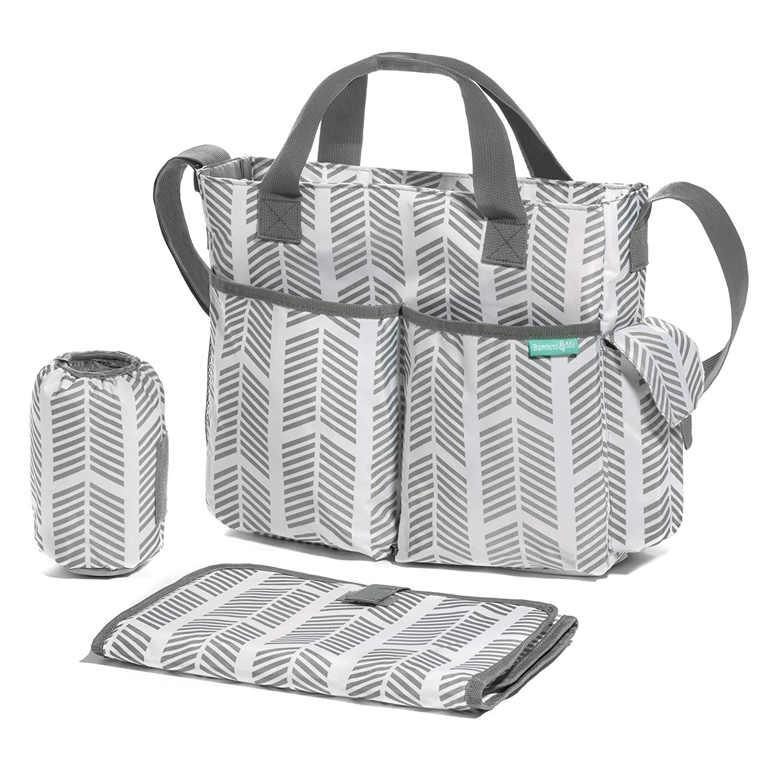 Diaper Bag/Breast Pump Tote Bag- Stylish Arrows, Functional Baby Stroller Organizer - Adjustable Stroller Strap - Eight Total Pockets - Easy to Clean - BONUS: Baby Changing Pad…
