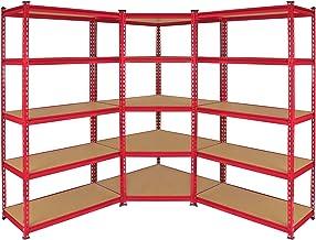 Z-rax 2 x Stellingkasten + 1 Hoek Stellingkast - 90 cm breed - Rood - 100% Boutloos - Draagkracht: 360 kg per plank - opbe...