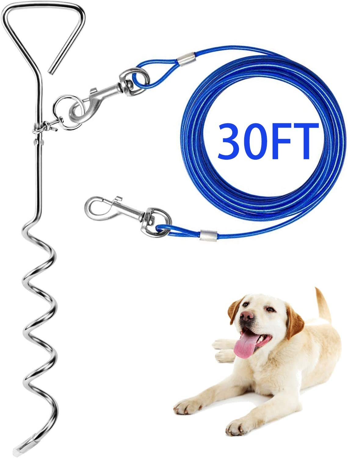 Dog Tie Out Cable and Stake Outside for 30ft Cheap bargain Popular LeashChain 16