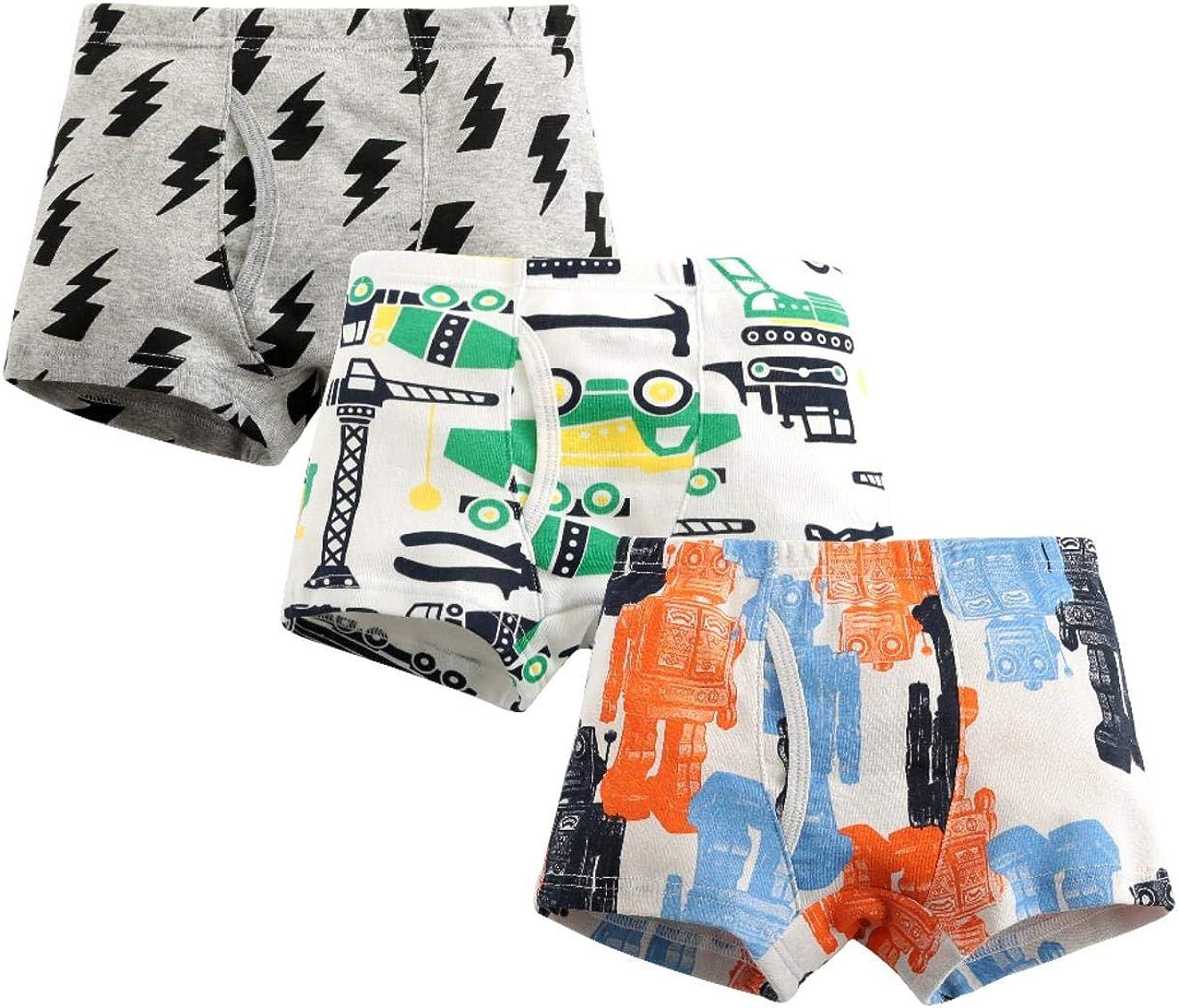 MIMY Boys Soft Cotton Boxer Briefs Toddler Kids Baby Underwear Dinosaur Truck Training Panty 3 Pack 3-10Y Pink