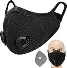 Decdeal Adults Mouth Mask with Double Valves Active Carbon Filter Adjustable Safety Mask Reusable Breathing Valve Mask for...